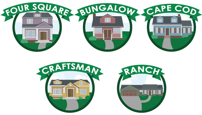 Four Sqaure, Bungalow, Cape Cod, Craftsman, Ranch