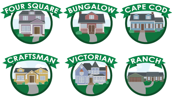 Four Square, Bungalow, Cape Cod, Craftsman, Victorian, Ranch
