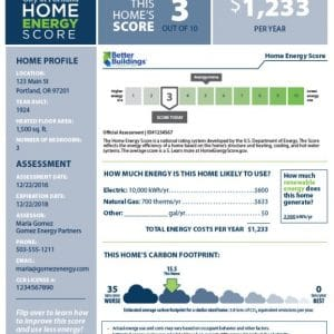 portland home energy score report