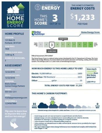 portland home energy score report