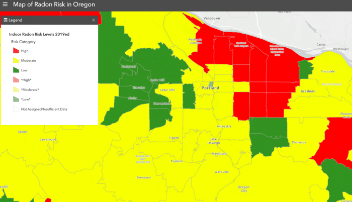 Portland, Oregon Radon Risk Map from Oregon Health Authority