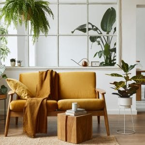 Interior design of scandinavian open space in stylish home staging.