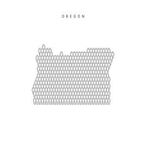Vector People Map of Oregon, US State. Stylized Silhouette, People Crowd in the Shape of a Map of Oregon. Oregon Population. Illustration Isolated on White Background.