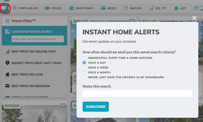 Instant home alerts through portlandhomesforsale.com