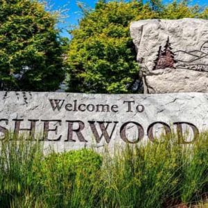Rock with engraving welcoming you to Sherwood