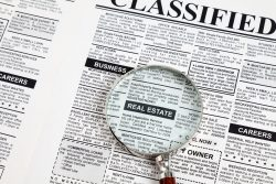 Fake Classified Ad, newspaper, real estate concept.