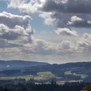 View of Chehalem Mountains and Tualatin River Valley in Beaverton Oregon USA America