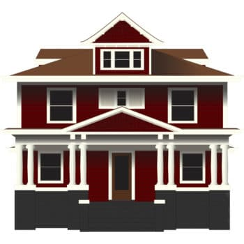 This is a vector image of a Foursquare Architecture Home