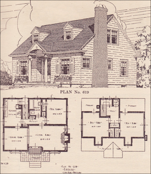 Catalog Floor Plan for a Cape Cod Style Home