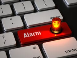 Alarm key on the keyboard, 3d rendering,conceptual image.