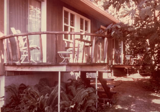 Treehouse-style deck on the south side of the house, 1965.