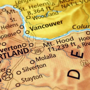 Area of Portland (Oregon) on a map